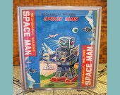 robot tissue box cover retro vintage 1950's tin toy outer space tissue cover kitsch