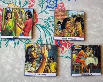 Spanish vice coasters retro vintage sleaze Mexico propaganda kitsch cocktail decor