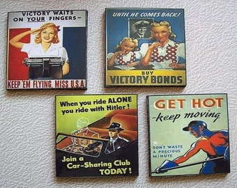 WW II Propaganda coaster set World War 2 poster retro vintage 1940's kitsch art