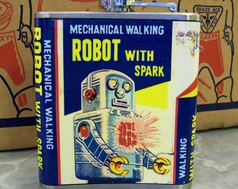 retro robot flask vintage 1950's tin toy outer space hip flask kitsch