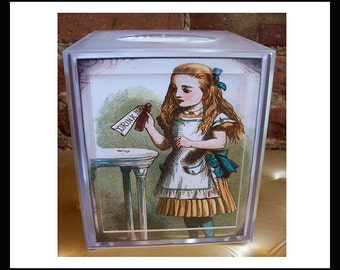 Alice in Wonderland tissue box retro vintage Victorian fairy tale tissue cover