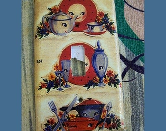 retro kitchen switch plate vintage anthropomorphic kitsch 1950's mid century light switch