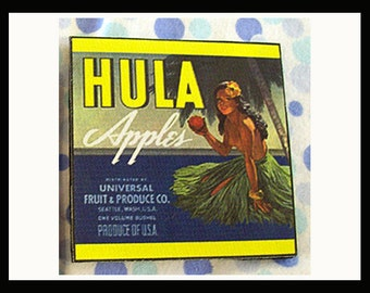 pin up girl coasters retro vintage 1950's fruit crate label rockabilly hula girl cowgirl kitsch