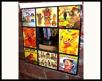 retro mirror children's book vintage 1950's nursery decor wall mirror kitsch