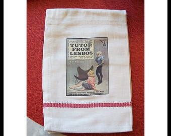 lesbian pulp dish towel retro vintage paperback art pin up girl kitchen kitsch sleaze