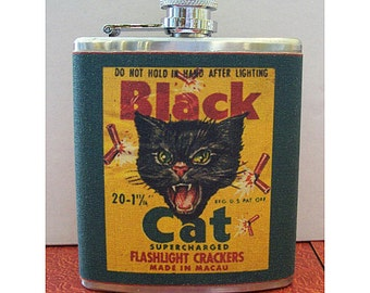 Black cat flask retro vintage spanish label 1950's rockabilly kitsch