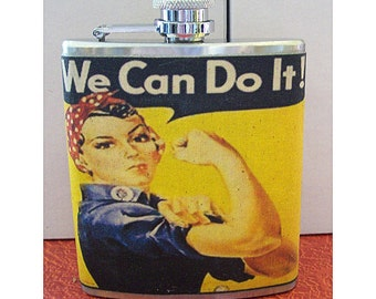 Propaganda poster flask world war 2 rosie the riviter retro vintage pin up WWII art