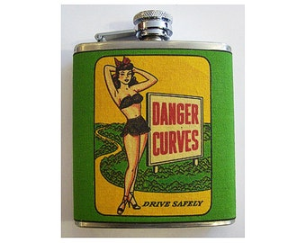 Pin up girl flask retro vintage 1950's rockabilly pinup kitsch hip flask