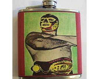 Mexican wrestler flask retro vintage luchador wrestling lucha libre kitsch hip flask
