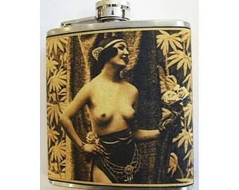 vintage nude flask retro 1920's Paris pin up girl burlesque mature hip flask kitsch
