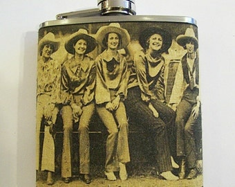 retro cowgirl flask vintage pin up girl 1950's rockabilly western kitsch