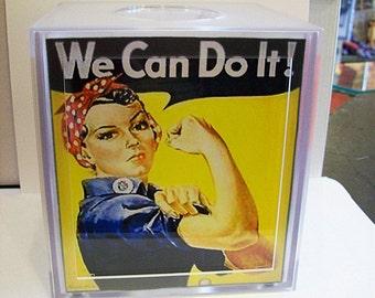 Rosie the riveter tissue box cover vintage WW2 propaganda poster retro 1940's pin up kitsch
