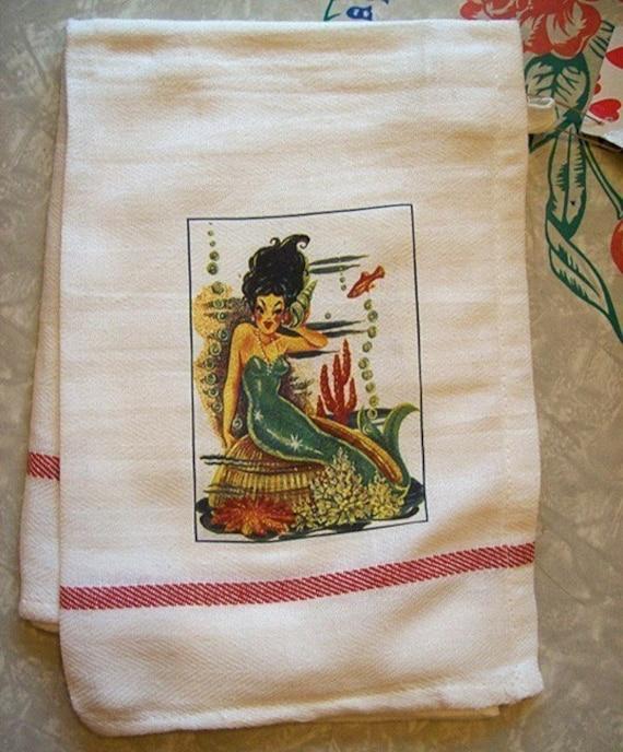 Rockabilly Kitchen Decor: Vintage Mermaid Dish Towel Retro 1950's Pin Up Rockabilly