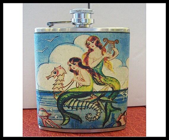 Mermaid flask retro vintage 1950's pin up rockabilly