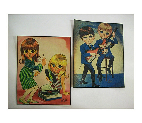 retro big eye patch set vintage 1960's mod go go sad eye print sew on patch kitsch