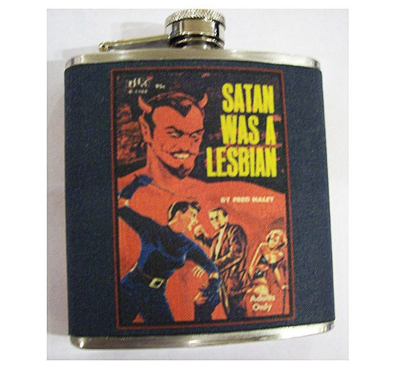 Lesbian pulp flask retro vintage pin up 1950's paperback sleaze pulp fiction kitsch