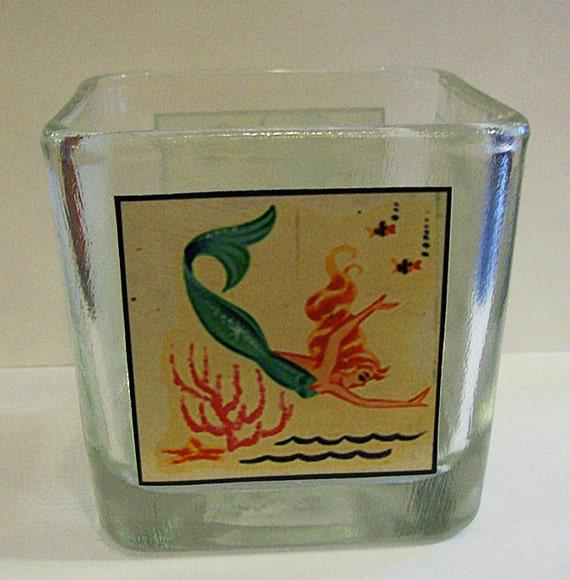 mermaid candle holder retro vintage 1950's pin up nautical rockabilly votive lighting