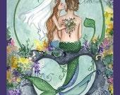 Mermaid Wedding Print from Original Watercolor Painting by Camille Grimshaw