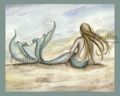 Seaside Beach Mermaid Print from Original Watercolor Painting by Camille Grimshaw