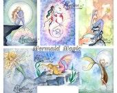 Blank  MERMAIDS Note Cards Mermaid Magic from Original Watercolors by Camille Grimshaw