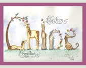 7 Letter Personalized Name Art Illustration Original Watercolor Painting Drawing by Camille Grimshaw