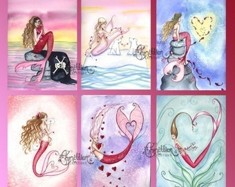 Blank VALENTINE'S DAY MERMAIDS Note Cards from Original Watercolors by Camille Grimshaw