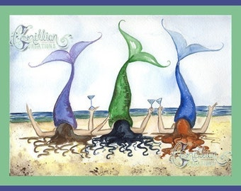 Three's a Party Beach Mermaids Print from Original Watercolor Painting by Camille Grimshaw