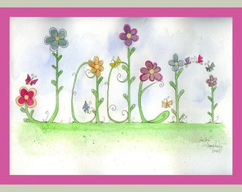 6 Letter Personalized Name Art Illustration Original Watercolor Painting Drawing by Camille Grimshaw
