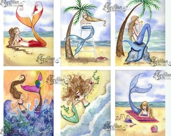 Blank Summer MERMAID Note Cards from Original Watercolors by Camille Grimshaw