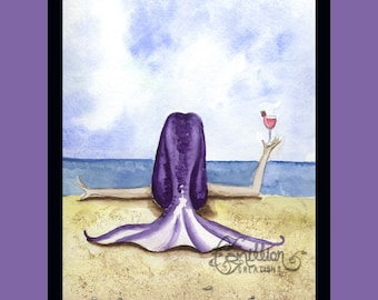Daiquiri Mermaid on the Beach from Original Watercolor Painting by Camille Grimshaw
