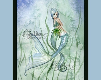 Blue and Green Seaweed Mermaid  Print from Original Watercolor Painting by Camille Grimshaw