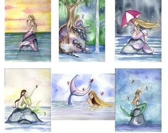 Six Spring MERMAID NOTE CARDS From Original Watercolors  by Camille Grimshaw