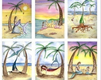Blank BEACH MERMAIDS Note Cards from Original Watercolors by Camille Grimshaw