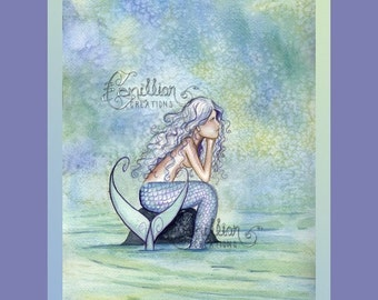 Peaceful Mermaid Print  from Original Watercolor Painting by Camille Grimshaw