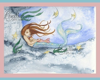 Mermaid and Sleeping Baby Daughter  Print from Original Watercolor Painting by Camille Grimshaw