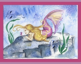 Pink Mermaid and Seahorse Print from Original Watercolor Painting by Camille Grimshaw