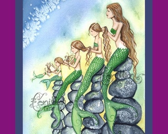 Five Mermaids Family Print from Original Watercolor Painting by Camille Grimshaw