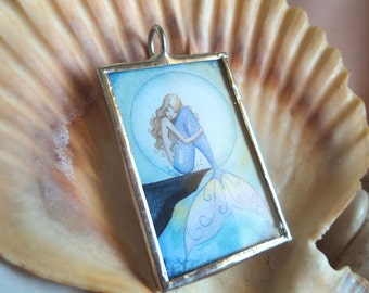 Mermaid and Moon Pendant by Camille Grimshaw