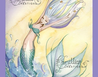 Rolling with the Waves Mermaid Art Print  from Original Watercolor Painting by Camille Grimshaw