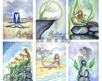 Blank  MERMAIDS Note Cards All in a Day from Original Watercolors by Camille Grimshaw