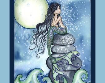 Tonight Mermaid & Moon Print from Original Watercolor Painting by Camille Grimshaw