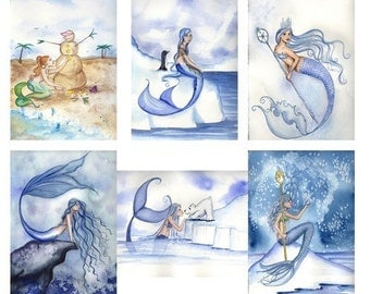 Winter Mermaid Note Cards From Original Watercolors by Camille Grimshaw