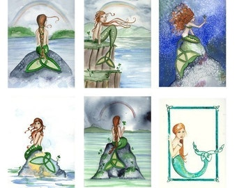 Blank CELTIC IRISH MERMAIDS Note Cards from Original Watercolors by Camille Grimshaw
