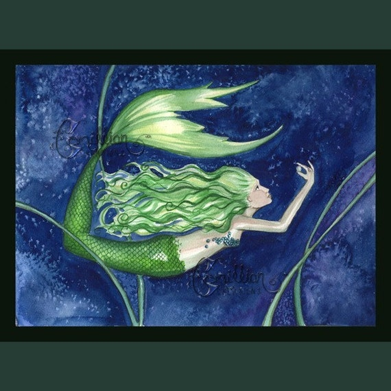 Pearl Finding Mermaid Print from Original Watercolor Painting by Camille Grimshaw
