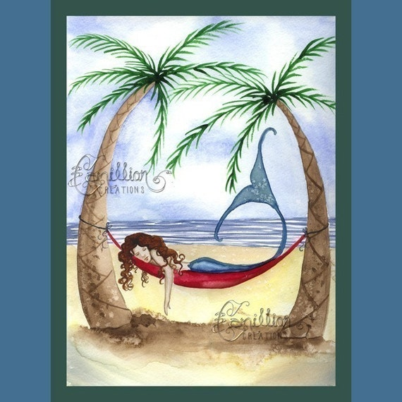 Mermaid Napping on the Beach Print from Original Watercolor Painting by Camille Grimshaw