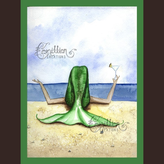 Pina Colada Mermaid on the Beach from Original Watercolor Painting by Camille Grimshaw