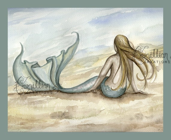 Seaside Beach Mermaid Print from Original Watercolor Painting by Camille Grimshaw