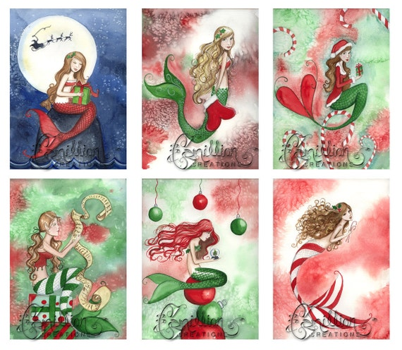 Blank Christmas 3 MERMAID Note Cards from Original Watercolors by Camille Grimshaw