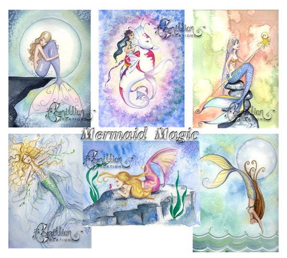 Blank  MERMAIDS Note Cards Mermaid Magic from Original Watercolors by Camille Grimshaw