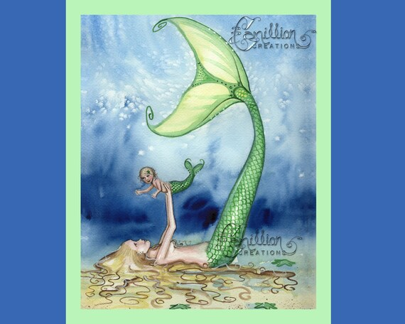 Mermaid Playing with Daughter from Original Watercolor Painting by Camille Grimshaw